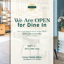 Wohoo! Corica Biliton is now open again for Dine In! 🎉 Make a reservation and come visit us! See you! 🤗